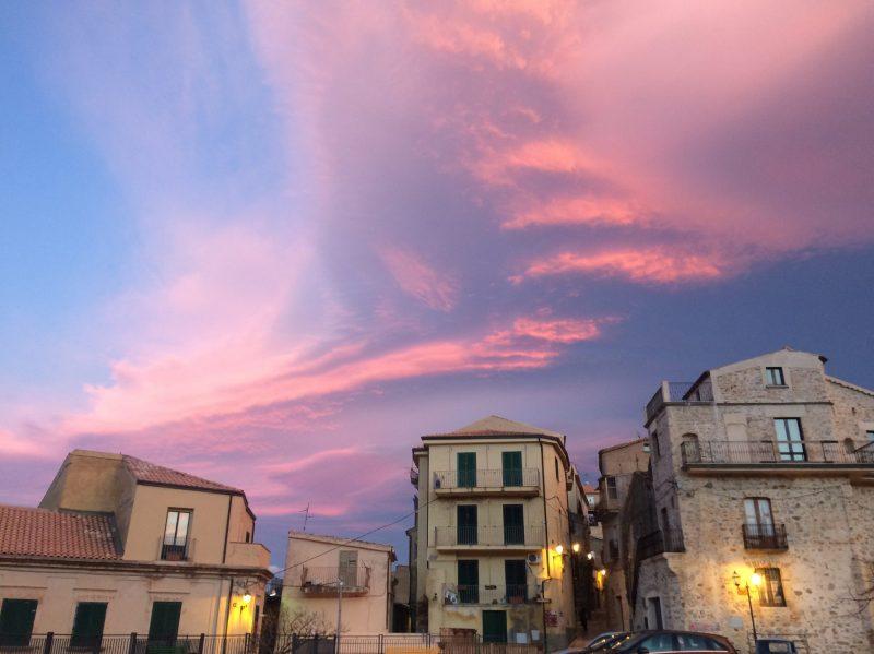 badolato borgo pink cloud sky